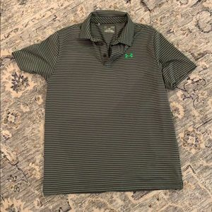 NWOT Under Armour heat gear green striped polo